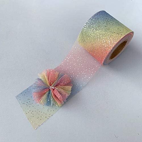 LYX 6センチメートル/ 8センチメートルグラデーションレインボーメッシュDIYアクセサリー子供手作りヘアアクセサリーボウアクセサリーの韓国語バージョン、1つのロール (Color : B, Size : 6CM)