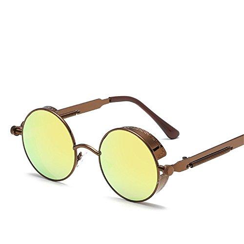 de RFVBNM Redondo Gafas sol K Sol Actual Marco Señora Espejo Pierna de de Gafas reflexivo H Metal Color Pierna Retro de de la la rqrIwBHd