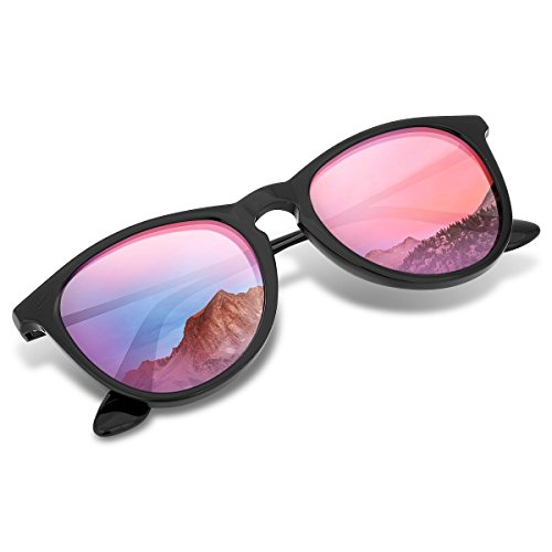 Polarized Wayfarer Sunglasses, Round Shades for Women by Wenlenie with Black Frame/ Pink Mirrored Lens, UV 400 Protection - Sunglasses Faces Narrow For Best Small