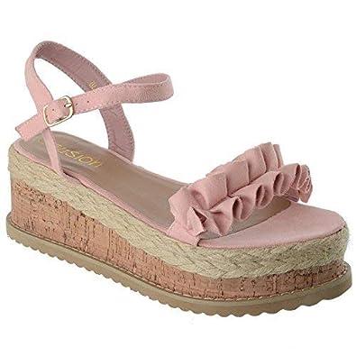 2f7325f5fbfb Miss Image UK Womens Ladies Flatform Cork Espadrille Wedge Platform Summer  Sandals Ankle Strap Frill Shoes Size  Amazon.co.uk  Shoes   Bags