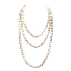 So Pretty Long Pearl Necklaces for Women Cream White Faux Pearl Strand Layered Necklace Costume Jewelry,69″