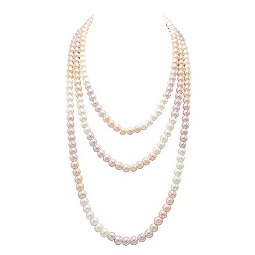 So Pretty Long Pearl Necklace for Women Faux Pearl Beads Strand Necklace 69