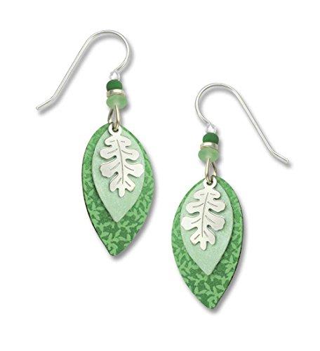 Adajio by Sienna Sky 3-part Mint Green Leaf Overlay Sterling Silver Earrings (Sky Mint Tin)