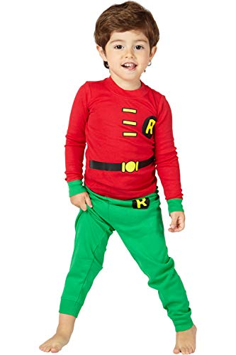 DC Comics Infant 'Robin Superhero' Cotton Costume Pajama Set, Red, 18 Months