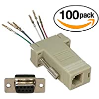 InstallerParts (100 Pack) DB9 Female to RJ11/12 (6 Wire) Modular Adapter Ivory – Gold Plated