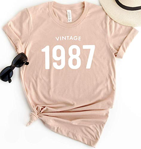 32nd Birthday 1987 Vintage T-Shirt Short Sleeve Personalized Gift for Women and Men 80s Tee Shirt