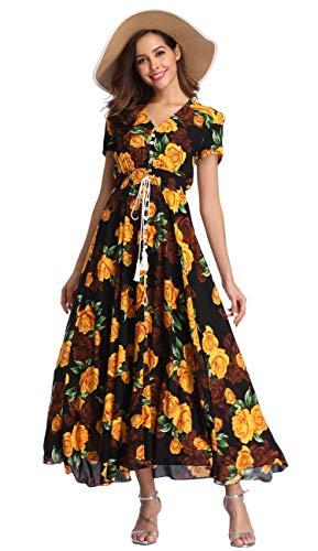 VintageClothing Women's Floral Print Maxi Dresses Boho Button Up Split Beach Party Dress, Black&Yellow Rose, L