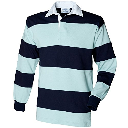 Front Row Sewn stripe long sleeve rugby shirt Duck Egg/ Navy S (Sewn Stripe Shirt Rugby)