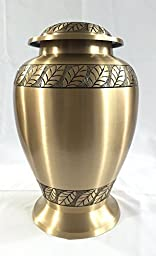 Funeral Urn by Liliane - Cremation Urn for Human Ashes - Hand Made in Brass and Hand Etched - Display Burial Urn at Home or in Niche at Columbarium (Diana Model)