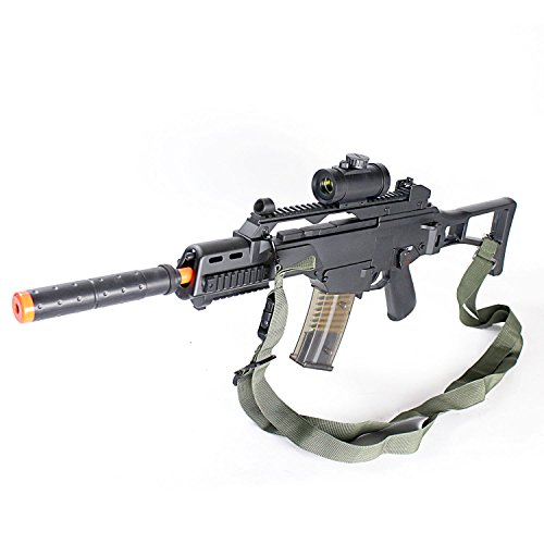 BBTac Double Eagle M85P Airsoft Gun AEG Electric Rifle Full Auto Great Starter with Premium Airsoft Carrying Sling