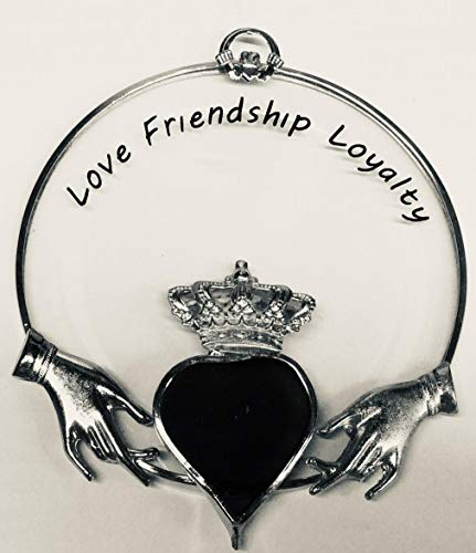 Irish Claddagh Ornament- Silver Finish - Stained Glass Ornament