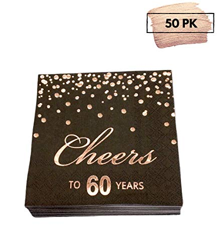 Elegant 60th Birthday Decorations (Rose Gold Foil Cocktail Napkins with Cheer 60 Years | Folded 5 x 5 Inches Disposable Party Napkins | 3-Ply Paper Beverage Napkins for 60th Birthday Decorations, Wedding Anniversary, Retirement,)