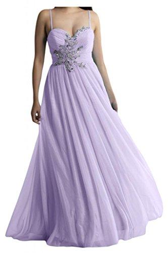Dos-Traeger con estilo de novia de la Toscana de cristal vestidos de gasa por la noche fiesta de dama de honor vestidos Prom bola de largo morado