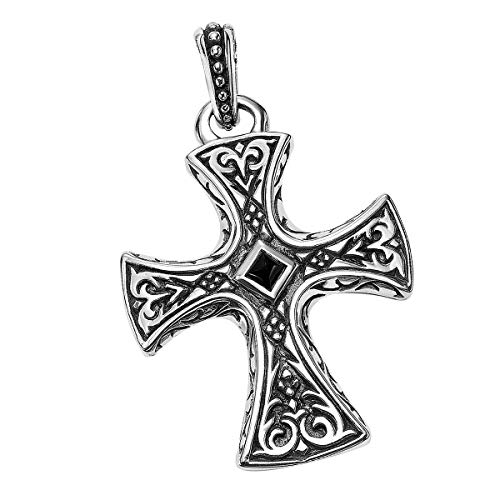 Large Medieval Gothic Cross Sterling Silver Mens Pendant By Scott Kay