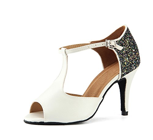 Miyoopark Womens Peep Toe T-Strap Synthetic Dance Shoes Evening Sandals White-8.5cm Heel qkEBBG