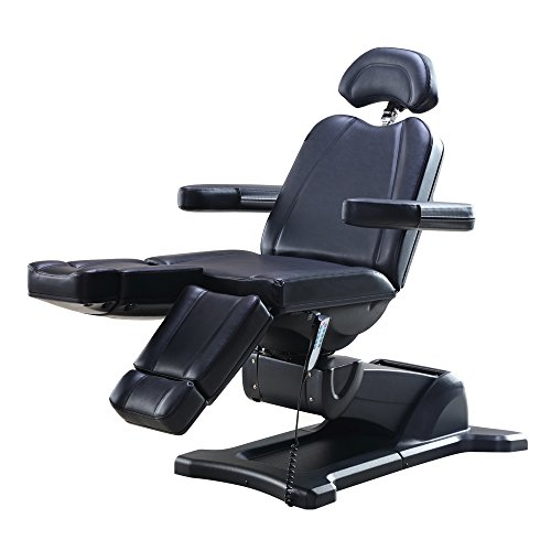 Beauty Full Electrical 5 Motor Podiatry Chair Facial Massage Dental Aesthetic Reclining Chair All Purpose Bed with Split Leg - Libra Black ()
