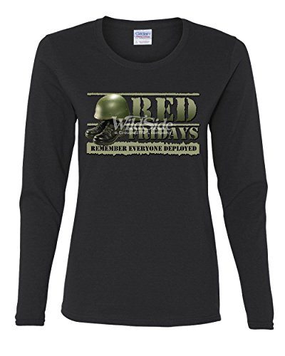 Red Fridays Remember Everyone Deployed Women's Long Sleeve Tee Support US Troops Black 3XL
