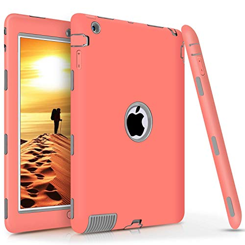 iPad 4 Case,iPad 3 Case,iPad 2 Case, DUEDUE Shockproof Heavy Duty Rugged Hybrid Hard PC Soft Silicone Defender Full Body Protective Cases Cover for iPad 2nd/ 3rd/ 4th Generation, Coral Pink