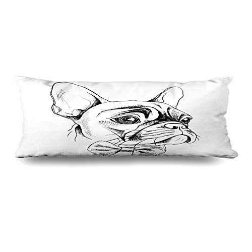 - Ahawoso Body Pillows Cover 20x60 Inches Graphic Frenchie French Bulldog Profile Tie Wildlife Dress Dog Drawn Hand Bowtie Bow Design Head Decorative Zippered Pillow Case Home Decor Pillowcase