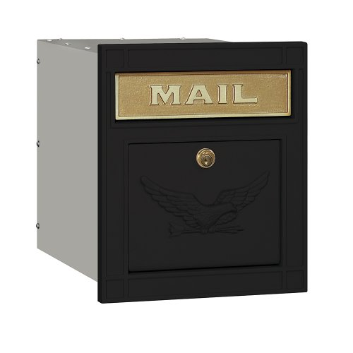 Mailbox Blk Wall (Salsbury Industries 4145E-BLK Cast Aluminum Column Mailbox Locking Eagle Door, Black)