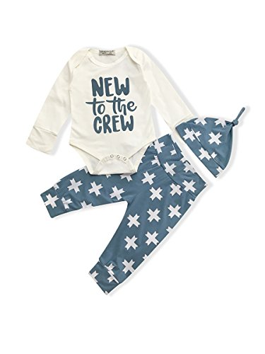 Okgirl Baby Boy Girls Clothes New to The Crew Newborn Infant Romper Tops Plus Cross Print Pants Hat Long Sleeve Outfit Set (0-3 Months)