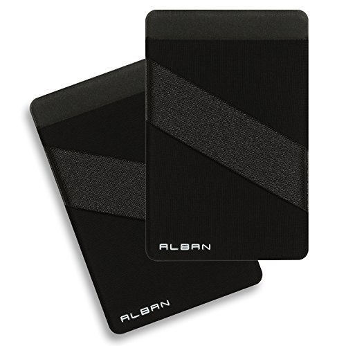Alban 2 Pack Stick On Back of Cell Phone Pocket Wallets. Adhesive Credit Card Holder with RFID Blocking and Finger Strap - Black