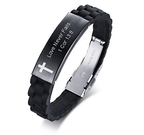 MEALGUET Love Never Fails 1 Cor 13:8 Inspirational Christian Bibe Verse ID Bracelet in Stainless Steel,Religious Gift