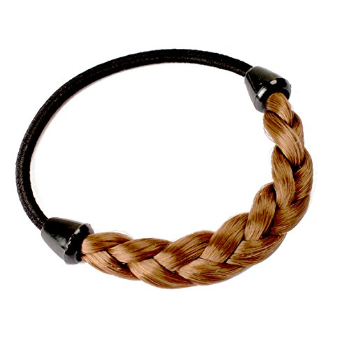 - Light Brown Wig Plaits Elastic Braid Rope Ponytail Hair Hairpiece Band Holder