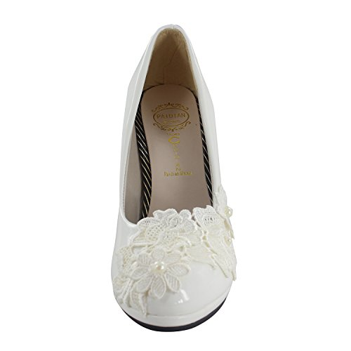 Lace Msmushroom With White PU Heel Dress Shoes Girl High ppwq8Fg
