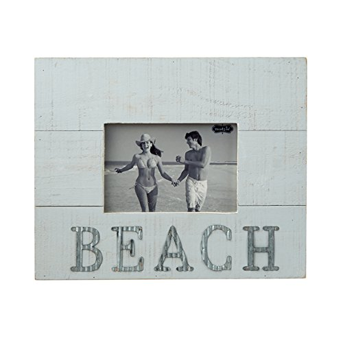 Mud Pie 4695380 Distressed Planed White Wood & Tin Beach Frame 4