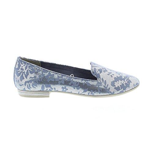 Comb Marco Tozzi Paige Textile Metallic Shoes Womens 24235 Azure vnX1Oq