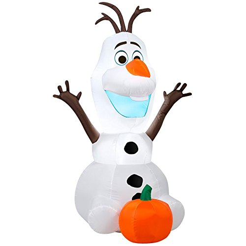 Gemmy Airblown Inflatable Disney's Olaf with Pumpkin Thanksgiving Halloween Yard Decoration Props, 3.5-foot Tall