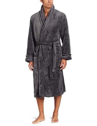 Intimo Men's Solid Corel Fleece Shawl Collar Robe, Charcoal, One Size