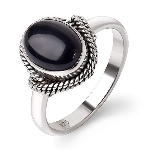 SUVANI Sterling Silver Black Onyx Gemstone Oval Rope Edge Vintage Women Band Ring Size 6