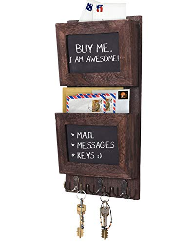 Rustic 2-Slot Mail Sorter Organizer for Wall with Chalkboard Surface & 3 Double Key Hooks - Wooden Wall Mount Mail Holder Organizer - Wall Décor for Entryway made of Paulownia Wood - Torched Brown