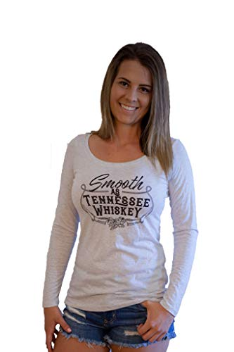Tennessee Drape Vols - Tough Little Lady Womens Smooth as Tennessee Whiskey Shirt, Wh LS Sm White