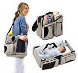Baby Cot and Change Table Packages Multi-Purpose 3 in 1 Diaper Bag - Travel Bassinet - Change Station - (Cream) #1 Baby Diaper Tote Bag - Good Gift Idea