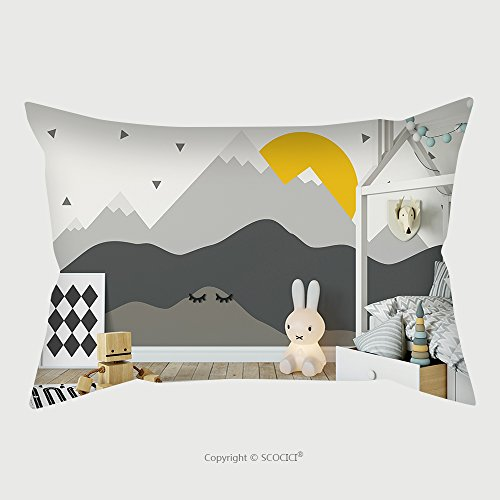 Custom Satin Pillowcase Protector Mock Up Wall In Child Room Interior Interior Scandinavian Style D Rendering D Illustration 604133303 Pillow Case Covers Decorative by chaoran