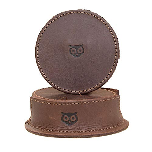 Hide & Drink Durable Thick Leather Owl Coasters with Stitching (6-Pack) Handmade Bourbon Brown