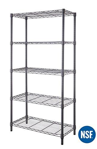 eeZe Rack ETI-005-P 5-Tier HEAVY DUTY Steel Wire Shelving, Storage Rack, NSF CERTIFIED, 30x14x60-inches (Gray) (NEW) by eeZe Rack