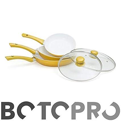 BOTOPRO - Sartenes CerafitGold Fusion, Juego de 3 sartenes + 2 Tapas de Regalo.