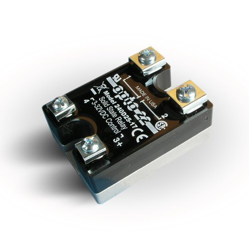 Opto 22 240D25-17 DC Control Solid State Relay, 240 VAC, 25 Amp, 4000 V Optical Isolation, 1/2 Cycle Maximum Turn-On/Off Time, 25 - 65 Hz Operating Frequency