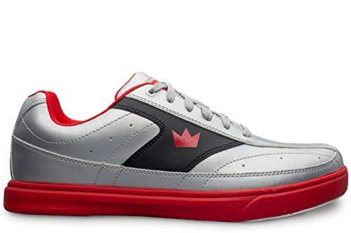 Brunswick Mens Renegade Bowling Shoes- Flash Silver/Red 10