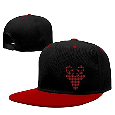 DGJ8GB Unisex Plaid Christmas Reindeer Hiphop Flatbrim Snapback Hats Contrast Color Baseball Cap Hats for Women