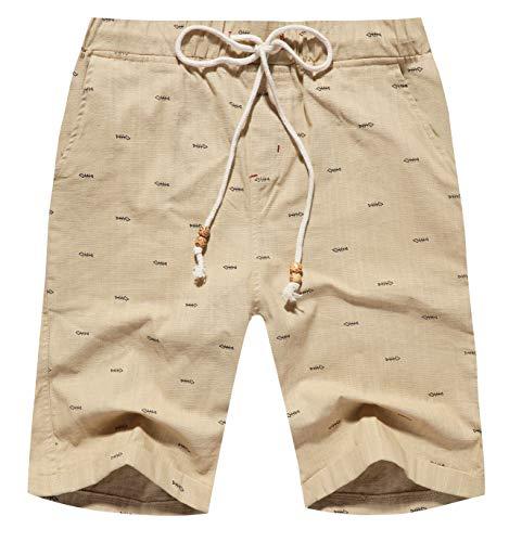 Boisouey Men's Linen Casual Classic Fit Short Khaki Fish Bone 2XL ()