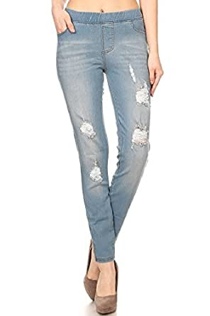 Women's Stretch Pull-On Skinny Ripped Distressed Denim Jeggings Light Blue S