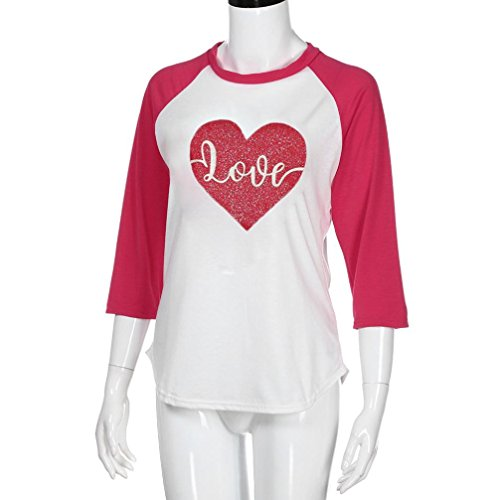 Casual Tops Solike Rond Tops Chemisiers Tunique Femme Couture Paillettes Imprim Femme Rouge Manches Sexy 3 Blouses T Shirts 4 C Col UZUdPxrq