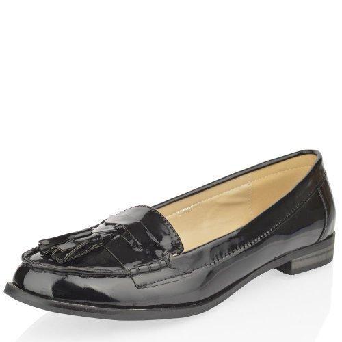 plano mujer trabajo oficina escuela Mocasines Con Borlas Náuticos VINTAGE Número Zapato - Negro Charol, 41: Amazon.es: Zapatos y complementos