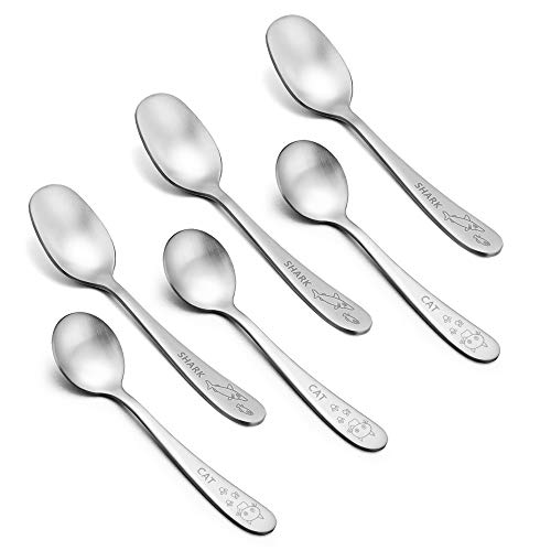 Toddler Kids Spoons, E-far 6-Piece Stainless Steel Baby Child Metal Spoons for Self Feeding with to Go Case, BPA Free & Cute Animals Patterns - Dishwasher Safe