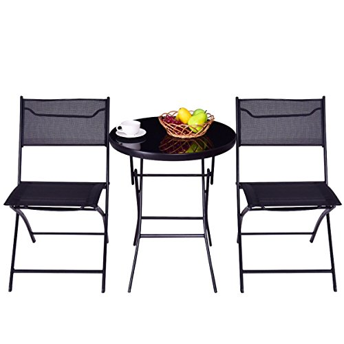 MyEasyShopping New Table Outdoor Chairs and Table Furniture Black Garden Patio Picnic Set by MyEasyShopping